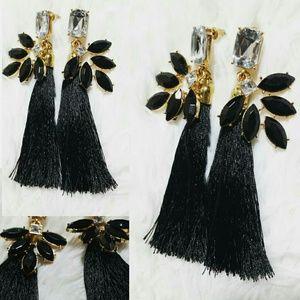 Jeweled Sway Silky Tassel Gold Tone Earrings